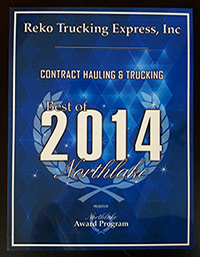 Reko Trucking Express Inc: 2014 Award